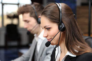 Call center operators at work